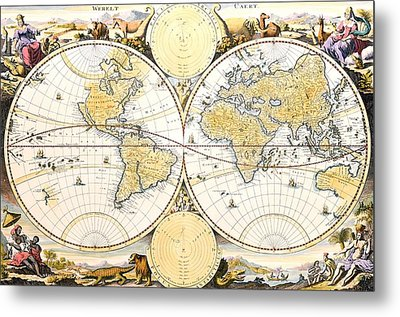 Map Of The World Metal Print by Daniel Stoopendaal