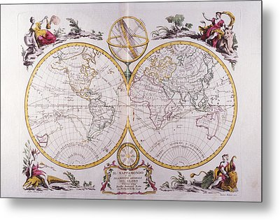 Map Of The World Metal Print by Fototeca Storica Nazionale