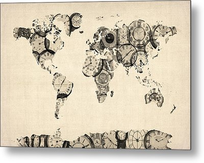 Map Of The World Map From Old Clocks Metal Print by Michael Tompsett