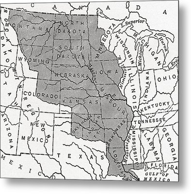 Map Showing The Louisiana Purchase Metal Print by American School