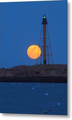 Marblehead Lighthouse Moonrise Metal Print by John Burk