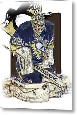 Marc Andre Fleury Pittsburgh Penguins Oil Art Metal Print by Joe Hamilton