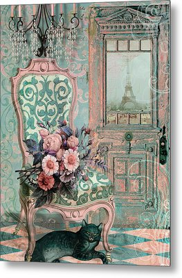 Marcie In Paris Metal Print by Mindy Sommers
