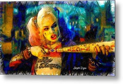 Margot Robbie Playing Harley Quinn  - Pencil Style -  - Da Metal Print by Leonardo Digenio