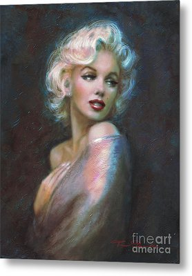 Marilyn Romantic Ww Dark Blue Metal Print by Theo Danella