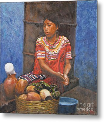 Market Girl Selling Atole Metal Print by Judith Zur