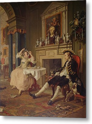 Marriage A La Mode II The Tete A Tete Metal Print by William Hogarth