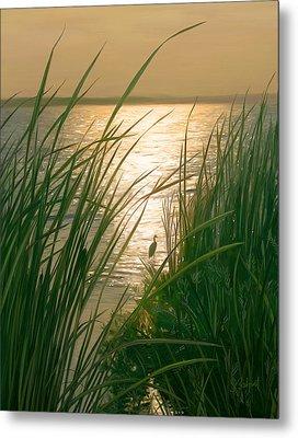 Marsh Sunset Metal Print by Sue  Brehant