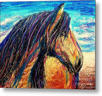 Marsh Tacky Wild Horse Metal Print by Patricia L Davidson