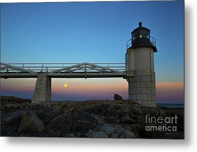 Marshall Point Lighthouse With Full Moon Metal Print by Diane Diederich