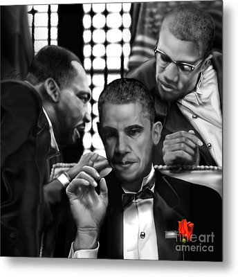 Martin Malcolm Barack And The Red Rose Metal Print by Reggie Duffie