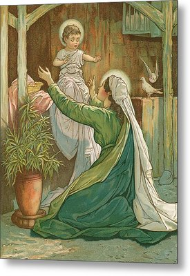 Mary Playing With Jesus Metal Print by John Lawson