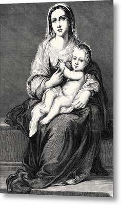 Mary With The Child Jesus Metal Print by German School