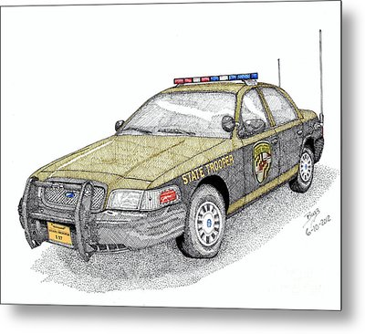 Maryland State Police Car Style 1 Metal Print by Calvert Koerber