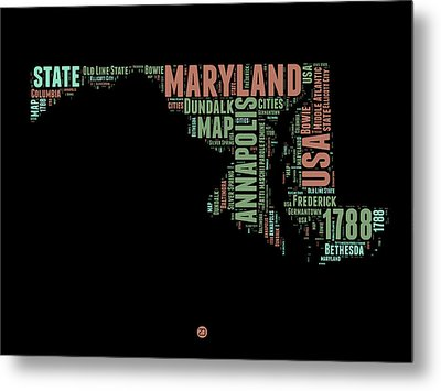 Maryland Word Cloud 1 Metal Print by Naxart Studio