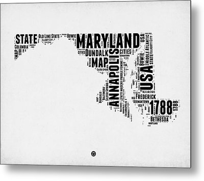 Maryland Word Cloud 2 Metal Print by Naxart Studio