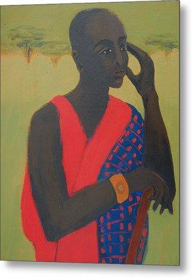 Masaii Warrior Metal Print by Renee Kahn