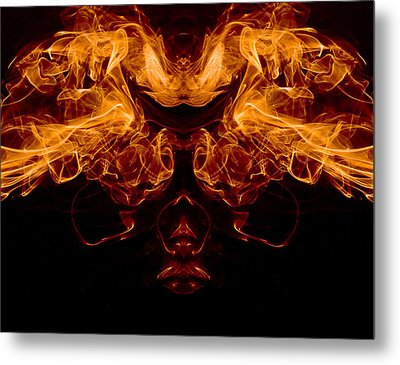 Mask Of Fire Metal Print by Val Black Russian Tourchin