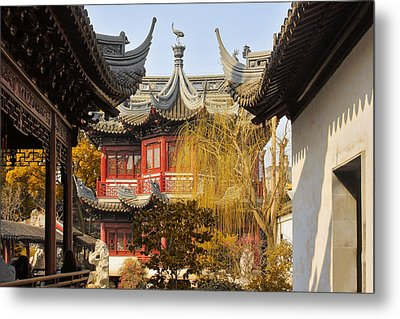 Massive Upturned Eaves - Yuyuan Garden Shanghai China Metal Print by Christine Till
