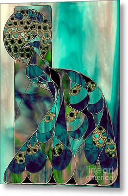 Mating Season Stained Glass Peacock Metal Print by Mindy Sommers