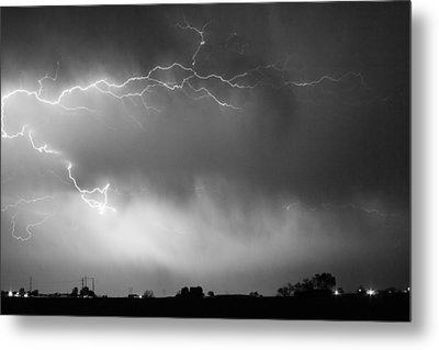 May Showers 2 In Bw - Lightning Thunderstorm 5-10-2011 Boulder C Metal Print by James BO  Insogna