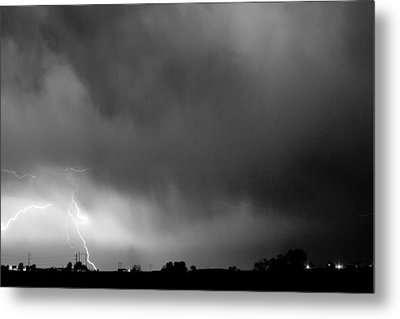 May Showers 3 In Bw - Lightning Thunderstorm 5-10-2011 Boulder C Metal Print by James BO  Insogna
