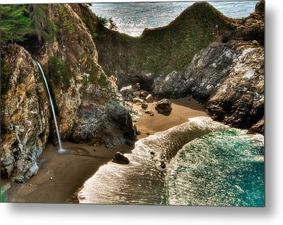 Mcway Falls Hwy 1 California Metal Print by Connie Cooper-Edwards