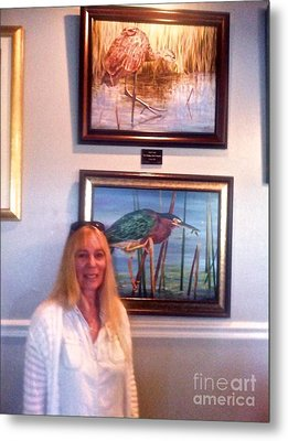 Me With Wailing Bird And Little Green Heron Metal Print by AnnaJo Vahle