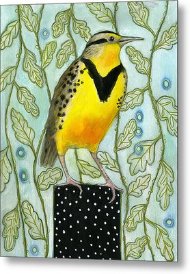 Meadowlark Black Dot Box Metal Print by Blenda Tyvoll