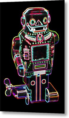 Mechanical Mighty Sparking Robot Metal Print by DB Artist
