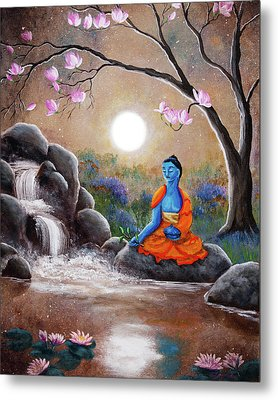 Medicine Buddha By A Waterfall Metal Print by Laura Iverson