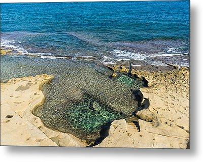 Mediterranean Delight - Maltese Natural Beach Pool With A Sleeping Giant Metal Print by Georgia Mizuleva