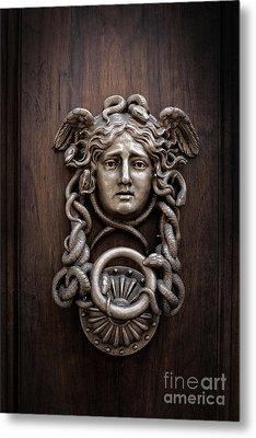 Medusa Head Door Knocker Metal Print by Edward Fielding