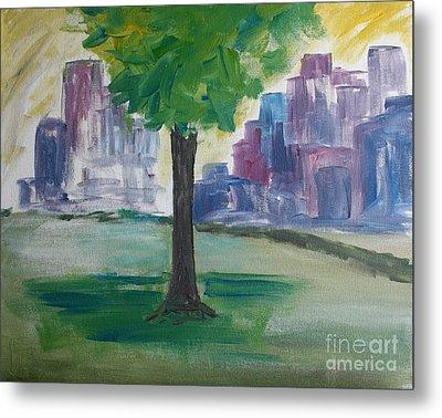 Meet Me By Our Tree In Central Park Metal Print by Julie Lueders