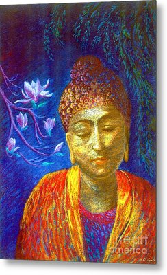 Meeting With Buddha Metal Print by Jane Small