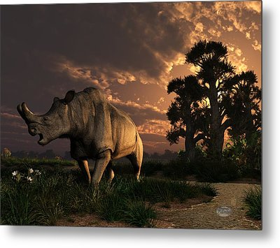 Megacerops At Breakfast Metal Print by Daniel Eskridge