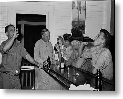 Men Drinking Beer At The Bar Metal Print by Everett