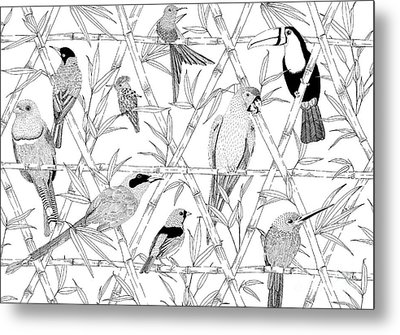Menagerie Black And White Metal Print by Jacqueline Colley