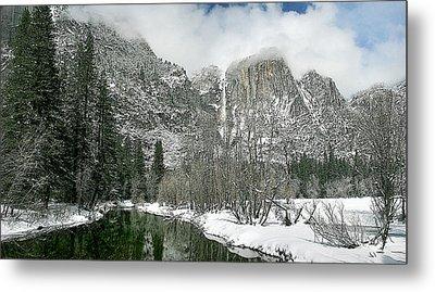 Merced Yosemite Falls Winter California Landscape Art Metal Print by Larry Darnell