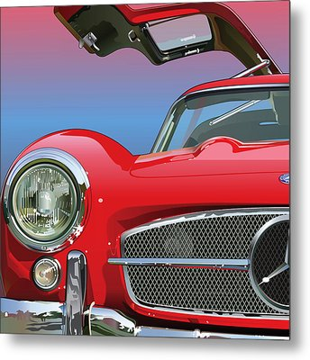 Mercedes 300 Sl Gullwing Detail Metal Print by Alain Jamar