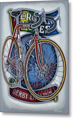 Mercian Flam Red Road Bicycle Metal Print by Mark Howard Jones