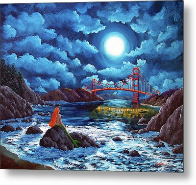 Mermaid At The Golden Gate Bridge  Metal Print by Laura Iverson