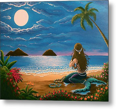 Mermaid Making Leis Metal Print by Gale Taylor
