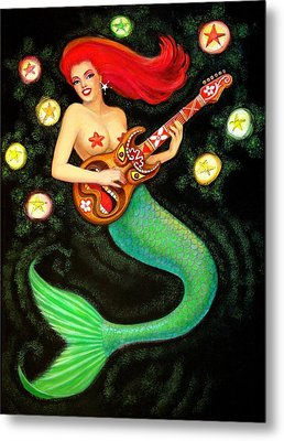 Mermaids Rock Tiki Guitar Metal Print by Sue Halstenberg