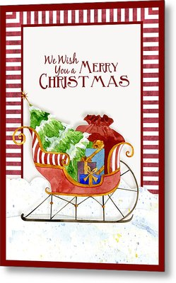 Merry Christmas Santa's Sleigh W Gifts In Snow Metal Print by Audrey Jeanne Roberts