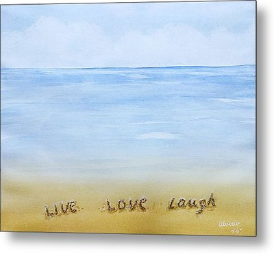 Message In The Sand Metal Print by Edwin Alverio