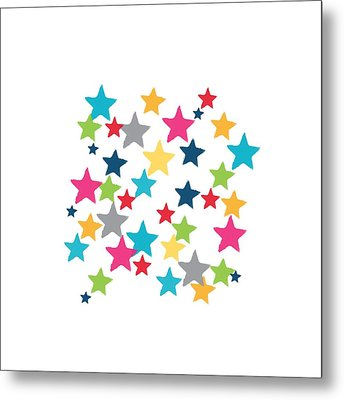 Messy Stars- Shirt Metal Print by Linda Woods