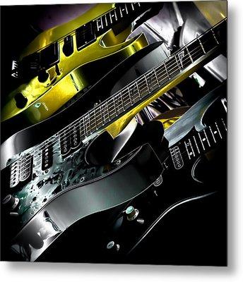Metallic Guitars Metal Print by David Patterson
