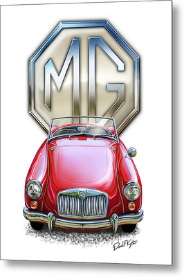 Mga Sports Car In Red Metal Print by David Kyte