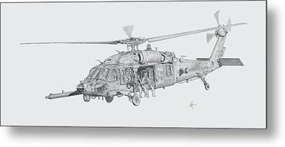 Mh60 With Gun Metal Print by Nicholas Linehan